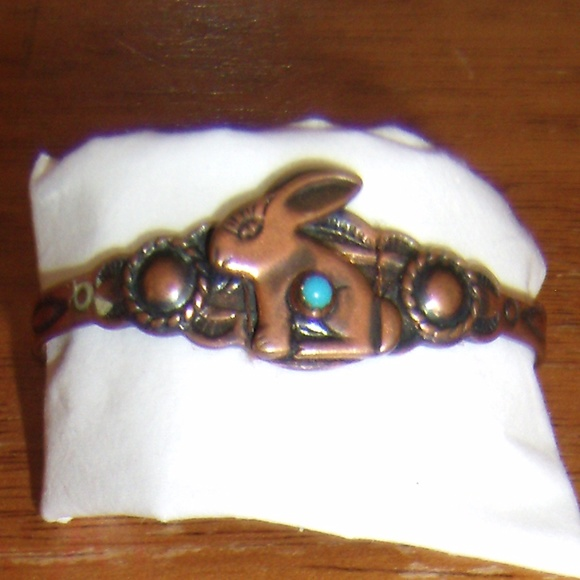 Other - Vintage Simulated Turquoise Copper Cuff Bracelet